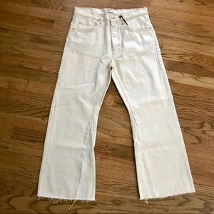 ZARA Womens Cream Hi Rise Crop Jeans